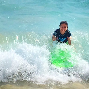 Boogie boarding at the Magic Sands Beach