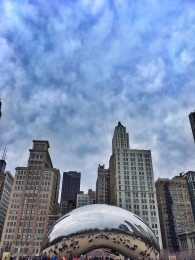 "The Cloud Gate (aka ""The Bean"") by sculptor, Anish Kapoor, in Millennium Park, Chicago"